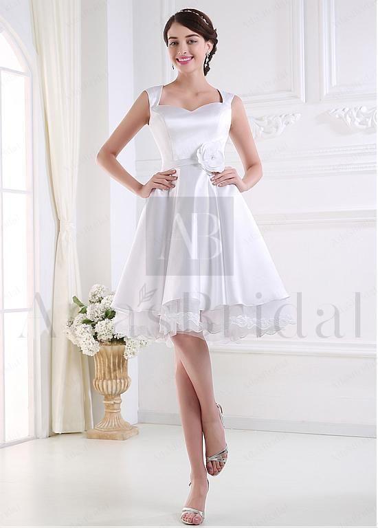 Elegant Satin Sweetheart Neckline Natural Waistline Knee-length A-line Wedding Dress