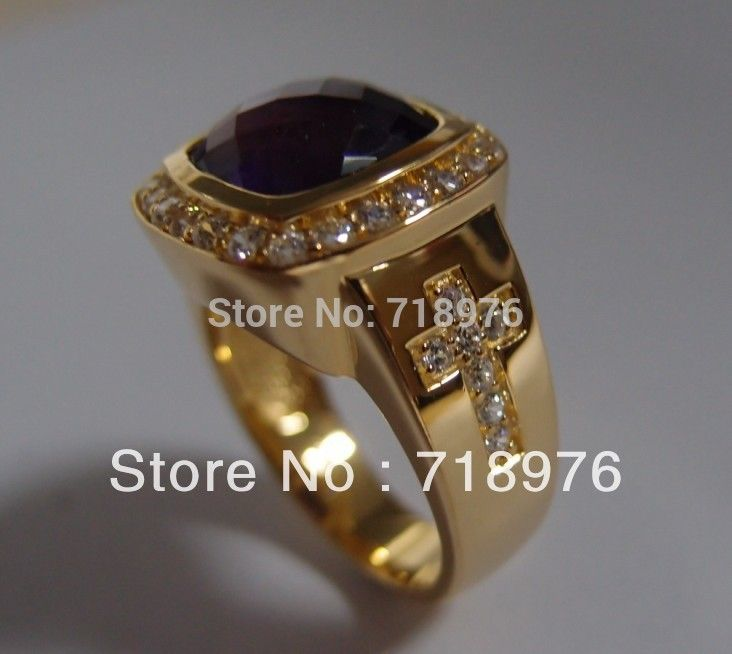 Free Shipping Custom Design Fashion Amethyst Natural Stone Bishop Ring With Two Cross Ring  http://houseofcompliments.com/products/chow-tai-fook-pt950-womens-platinum-ring-diamond-ring-sona-ring/