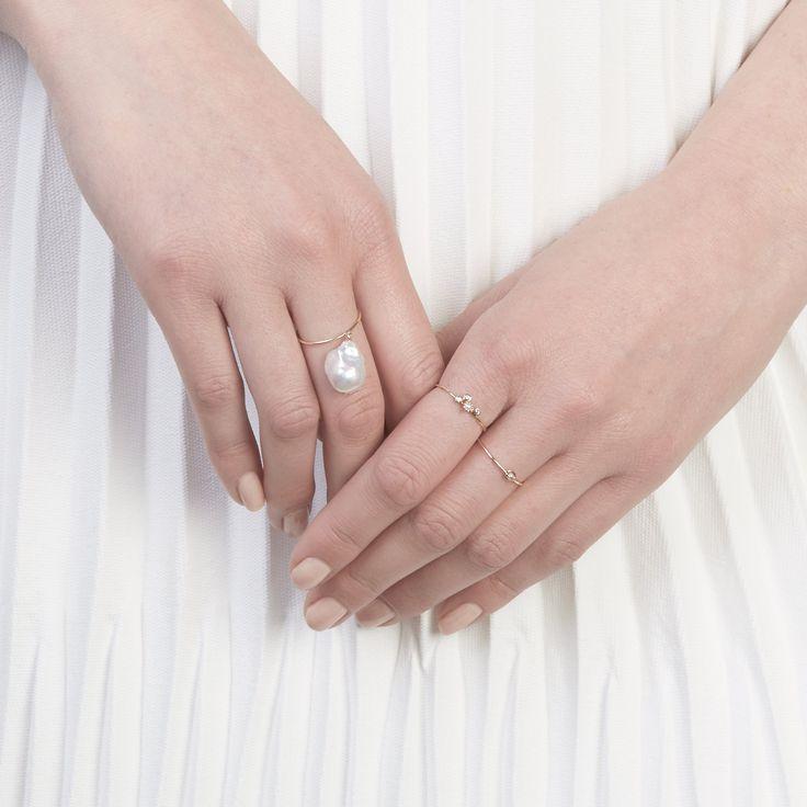 The Baroque Ring, Ludid Diamond Ring and Orbit Ring by SARAH & SEBASTIAN