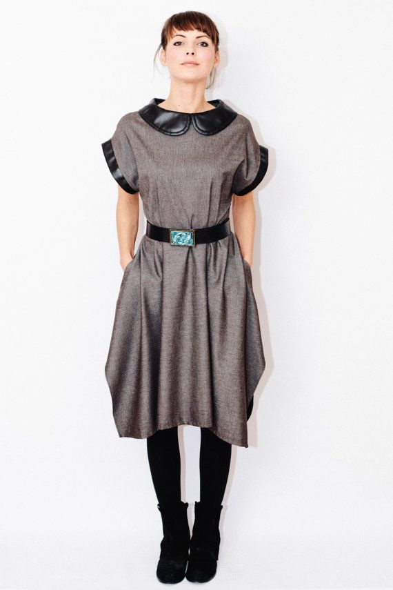petar pan collar winter dress/ asymmetrical dress/ by LeMajadesign