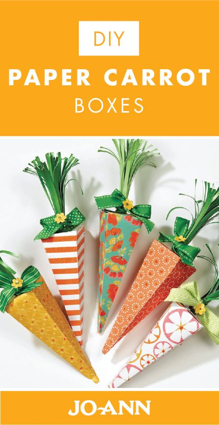 Set out one of these DIY Paper Carrot Boxes on each of the place settings of your Easter table for a charming addition. Using a variety of funky patterned papers from Jo-Ann, you can easily make up these spring-themed pieces.