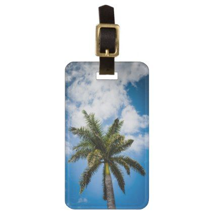 Jamaican Palm Tree Bag Tag - travel luggage tags personalize customize your name diy