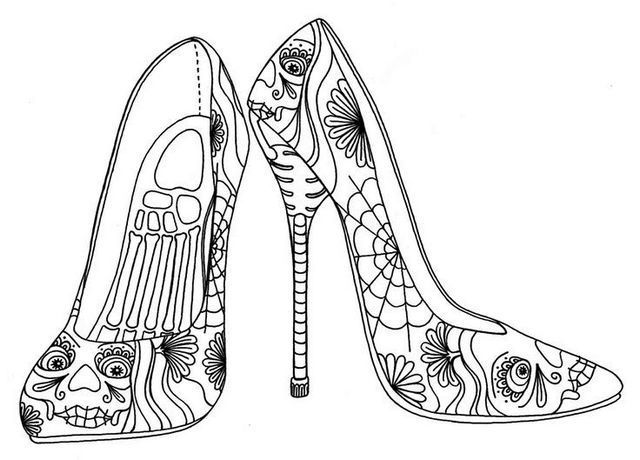 Motif High Heels Coloring Pages For Grown Ups