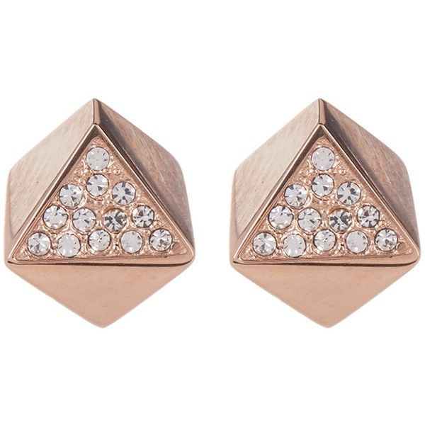 Fossil Pave Crystal Geo Stud Earrings found on Polyvore featuring jewelry, earrings, rose gold, fossil earrings, rose gold tone jewelry, crystal stone jewelry, post back earring and geometric earrings