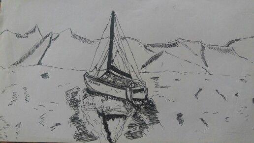 Sail boats are pre great! #sailboat #drawing
