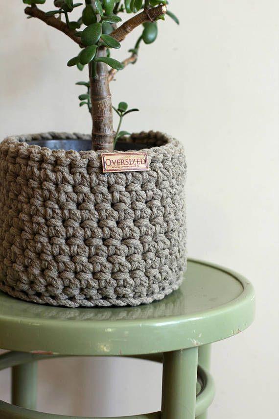 Crochet, linen flower pot, knit linen basket, small storage bin, flower pot cover, crochet planter, organic storage basket, linen decor