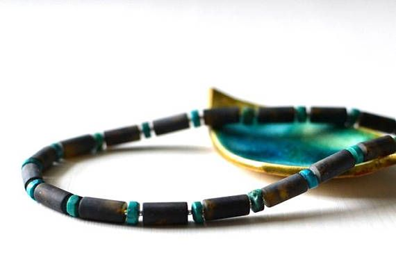 Turquoise & Amber Necklace Amber Jewelry Baltic Amber with