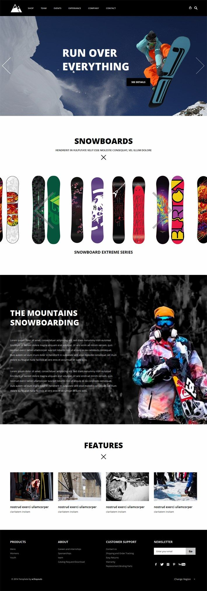 Snowboarding - Flat Responsive Free Template - This seems like the snowboards scrolls through, which s a nice touch. Love the big images.