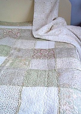 New pretty Green ruffle patchwork King quilt | Coast & Country Interiors
