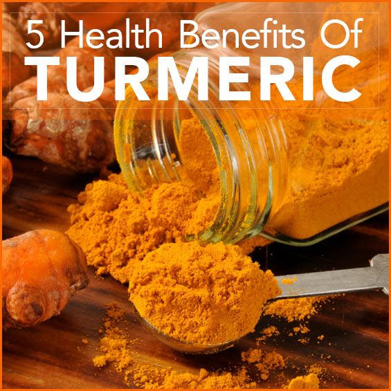 """A large clear jar filled with turmeric powder and a measuring spoon with the words """"5 Health Benefits Of Turmeric"""" above it."""