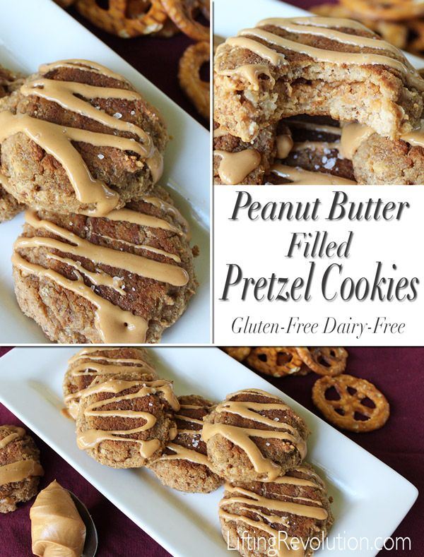 Gluten-Free Peanut Butter Filled Pretzel Cookies - just use dairy-free milk beverage on this one!