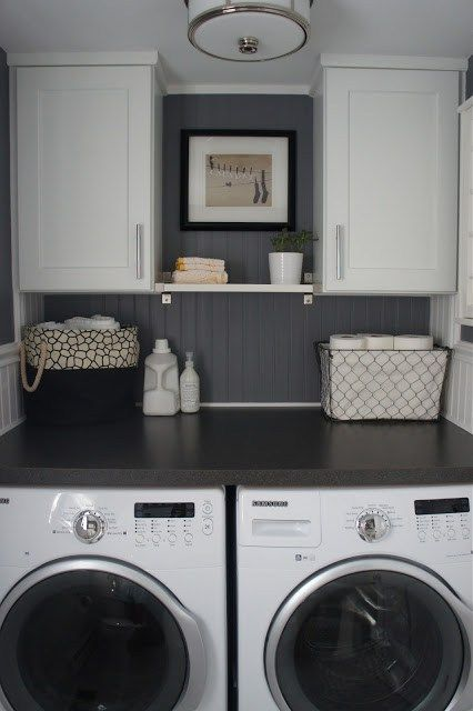 Small Laundry Room Inspirations - We share some great small laundry ideas.
