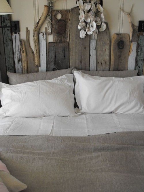 .***Research for possible future project.: Rustic Bedrooms, Decor Ideas, Headboards Ideas, Bedrooms Design, Head Boards, Beaches Houses, Driftwood Headboards, Oysters Shells, Eclectic Bedrooms