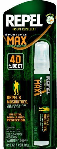 Repel 94095 0.475-Ounce Sportsman Max 40-Percent Deet Insect Repellent Pen Size Pump Spray, Case Pack of 1 by Repel. $6.88. Up to 8-hour of protection from mosquitos,ticks, gnats, biting flies, chiggers and fleas. Convenient pen sized applicator. 40-Percent DEET. Repel max pen sized pump provided up to 8-hour of protection from mosquitos,ticks, gnats, biting flies, chiggers and fleas. The convenient pen sized applicator allows you to easily take it anywhere. Fo...