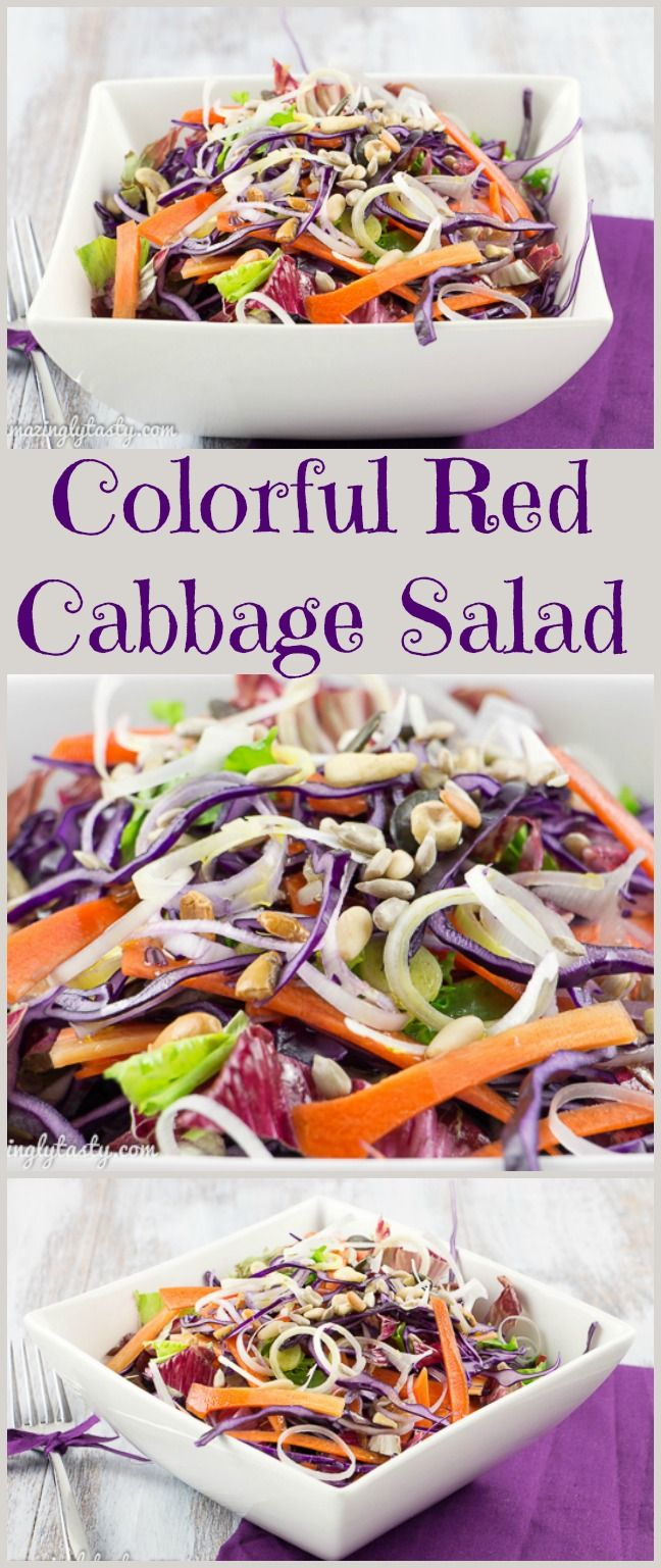 Amazing Colorful Red Cabbage Salad, loaded with essential nutrients and low in calories. Gluten free, dairy free and raw.