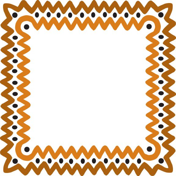 Free clipart frame African wave gold.
