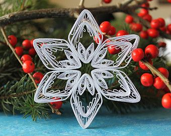 Items similar to L size snowflake from set KETCHUM - Paper quilled ornament - Christmas decoration - Handmade gift on Etsy