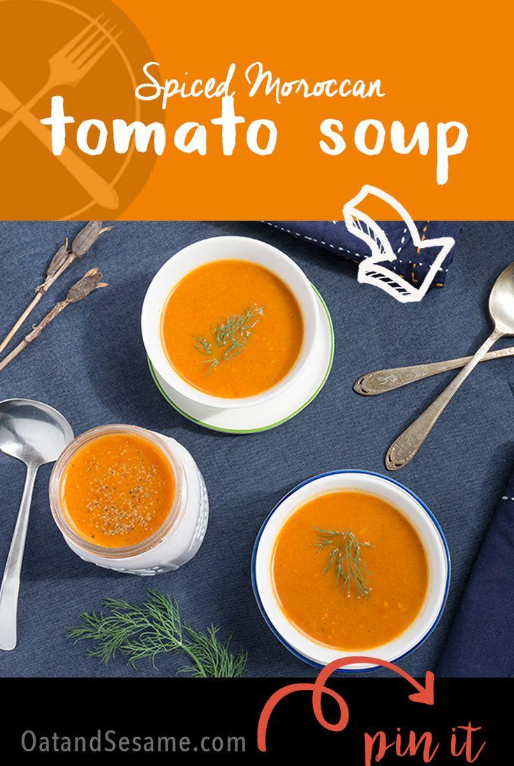 Spiced Moroccan Tomato Soup - a cozy, heartwarming soup to welcome soup season | recipe at OatandSesame.com