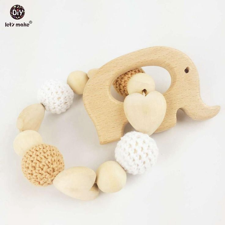 Let's Make Heart Elephant Wooden Crochet Holder Ecofriendly Baby Teething Dummy Chain Baby Rattle Nursing Bracelet Baby Teether