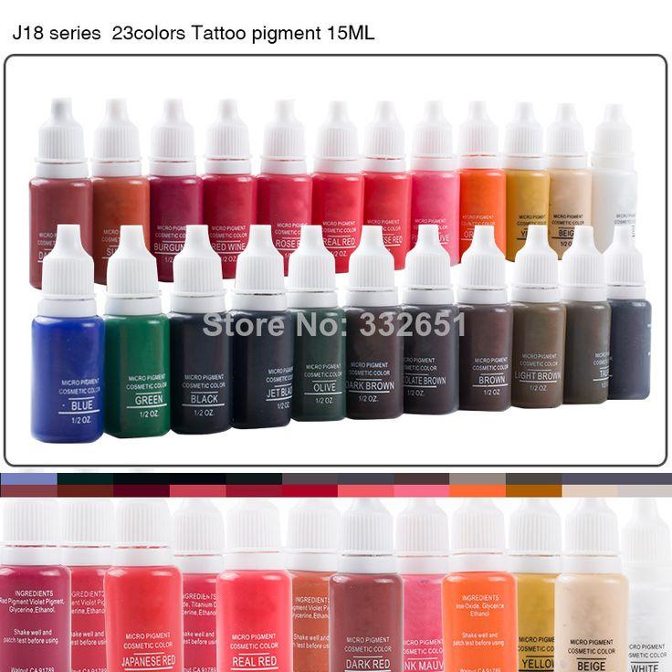 Beautiful J18 15ml Permanent Makeup ink 23 Colors Tattoo Ink Pigment Supply Set For Tattoo Eyebrow Lip Pen Machine Kit $42.30