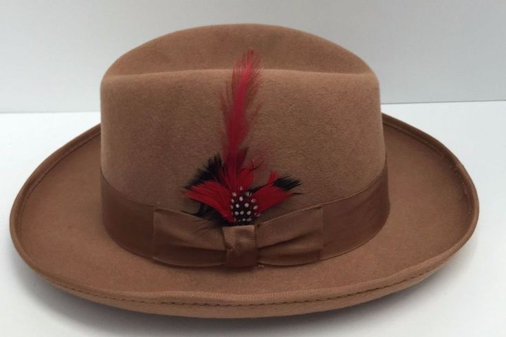 Godfather Tan St Patrick Men's Dress Hat 100% Wool Bow Tie Hatband & Feather  #StPatrick #Godfather