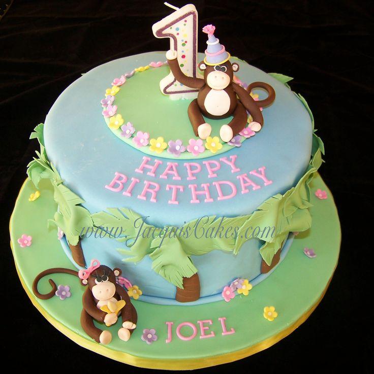 baby boys first birthday cakes  Monkey Cake for 1st Birthday