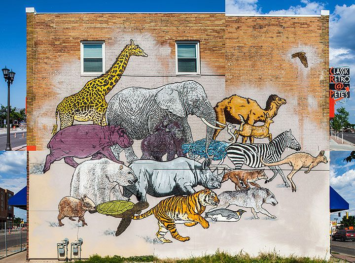 """The completed 4-part composited mural by Broken Crow, entitled """"The Bigger Picture Project"""""""