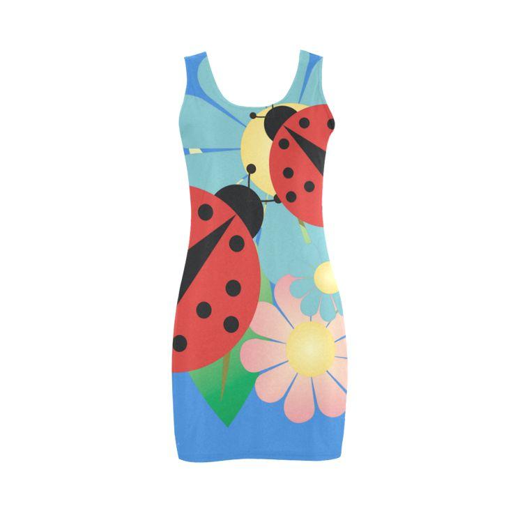 2 ladybugs Flowers summer Vest Dress | ID: D635186
