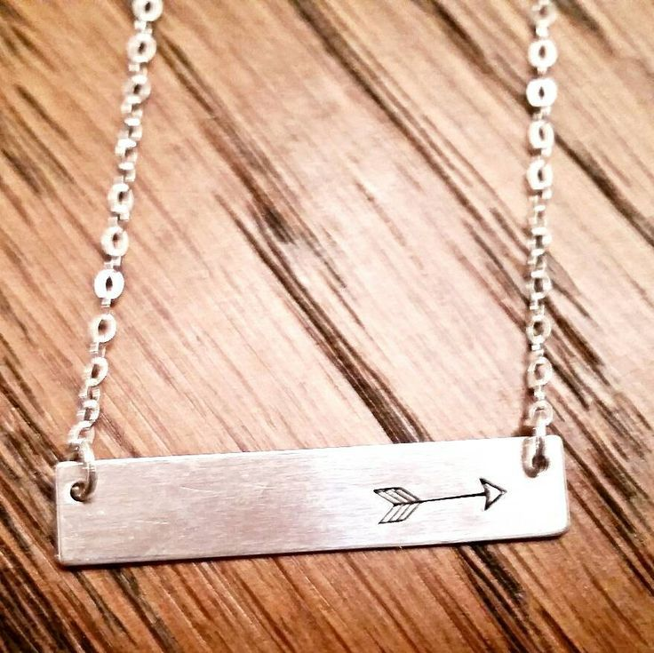 Hand stamped Sterling Silver bar necklace; handmade; boho arrow; personalized; customized; name; date; delicate and dainty necklace