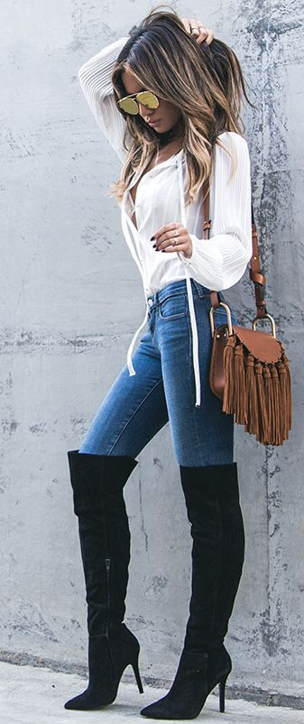 Sexy style..high knee boots, white boho top and fringed crossbody bag..
