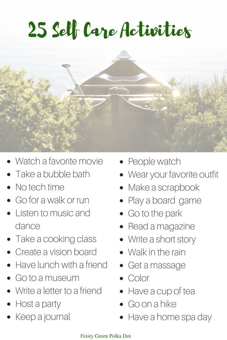 25 Self Care Activities