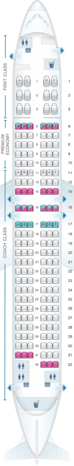 Seat Map Alaska Airlines – Horizon Air Boeing B737 800