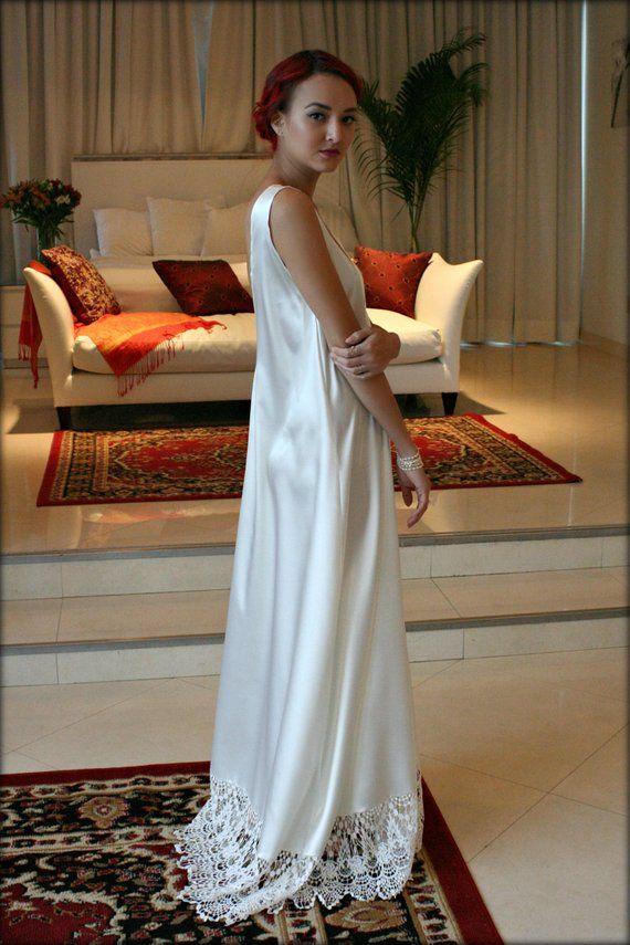 18fd149c3608a Bridal Nightgown Satin Off White Wedding Lingerie Venise Lace Sleepwear Art  Deco Paris Chic Boudoir