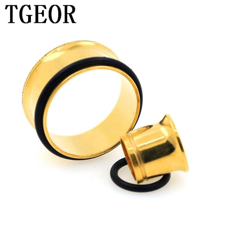 Hot wholesale body jewelry 240pcs mixed 8 sizes titanium plated gold Stainless Steel single flare with oring ear tunnels