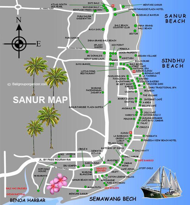 Sanur Village, Map, Bali Www.rudisbalitours.com