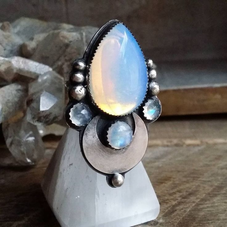 Handmade opalite and moonstone ring - I'm so jealous of the person who made it and the person who owns it!