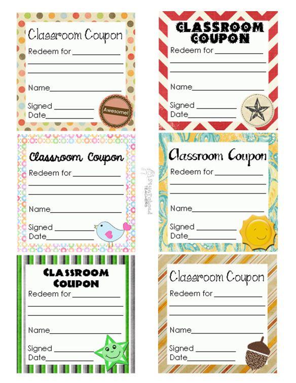 classroom coupon sheet - Free printable