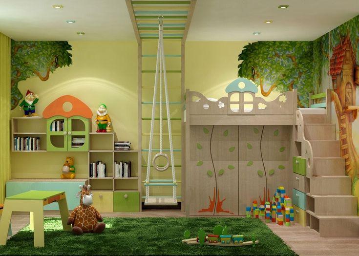 Зеленая комната для девочки - дизайн интерьера