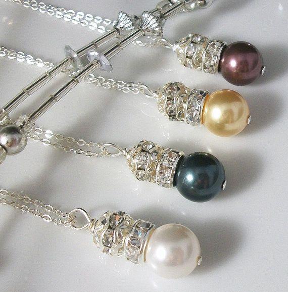 Swarovski Pearl Rhinestone Ball Necklace... easy
