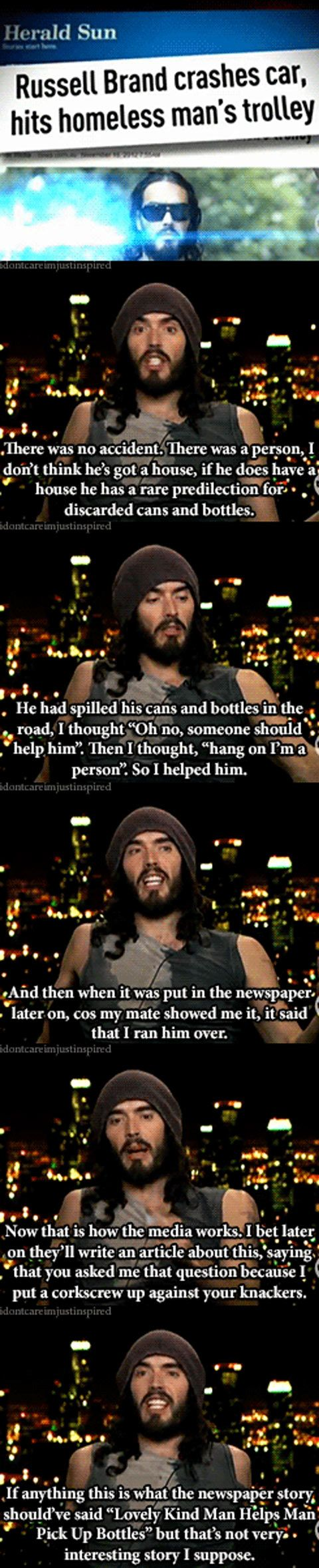 No one likes good news apparently. I don't like Russel Brand personally, but he's spot on about this.