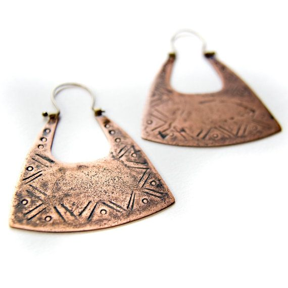 Tribal Inspired Copper and Sterling Silver Jewelry - Mixed Metal Earrings - Metalsmith Jewelry - Large Size. $54.00, via Etsy.