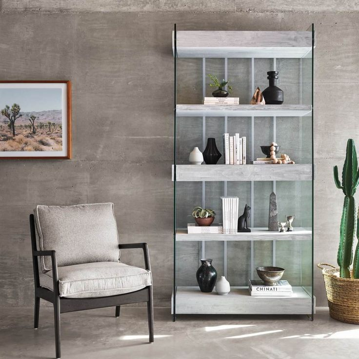 Soho Modern Grey Wood And Glass Wide Bookshelf