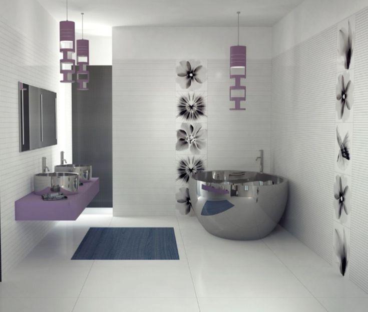 Photos On Modern Bathroom Design with Extensive Thrilling Window Ideas Attractive Wall Art Decor Combined With Modern Purple Bathroom Interiors Plus Corner Round