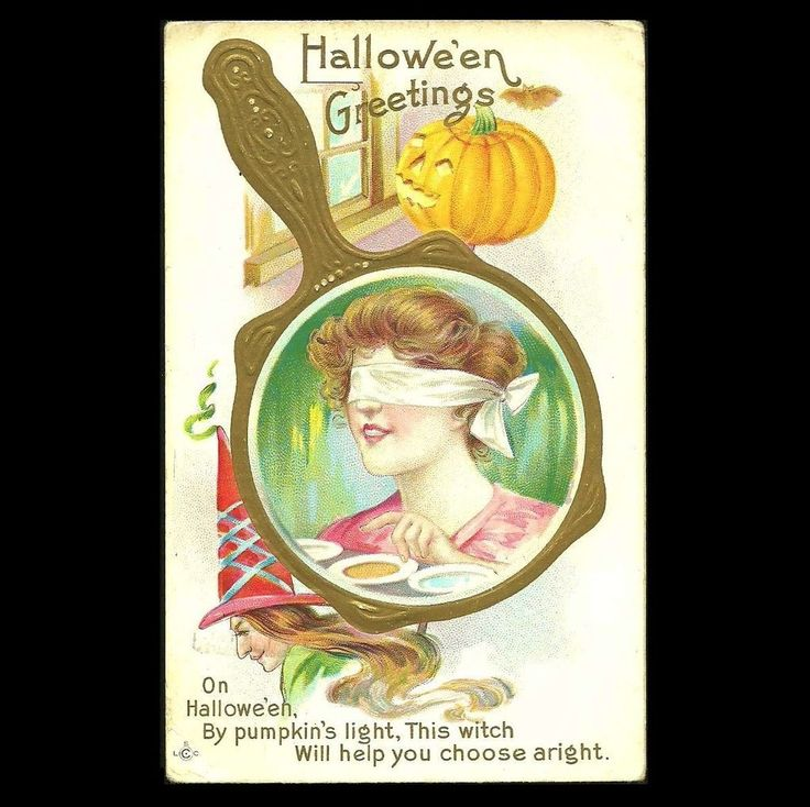 Halloween Postcard Girl With Blindfold,Witch, Pumpkin at Tannery Creek Antiques.