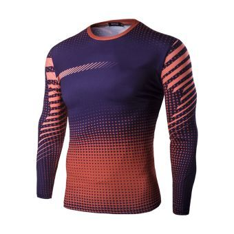 Hombres Camisetas de Fondo de Seco Rápido de Deportes Montar  Apretados Tops Estampados de Larga Manga  naranja