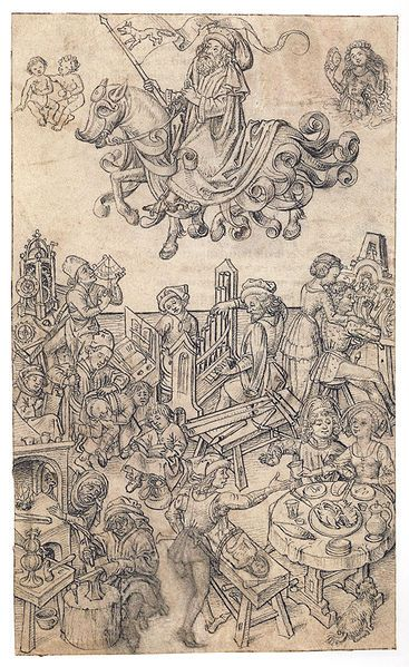 Children of Mercury - Medieval crafts drawing with medieval spectacles and a carver - after c1480 File:Hausbuch Wolfegg 16r Merkur.jpg