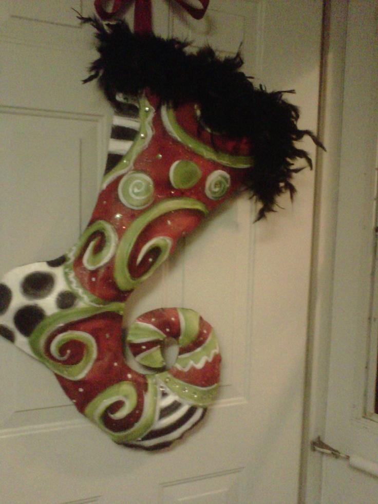 Christmas stocking door hanger. $65.00, via Etsy.