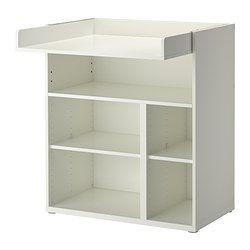 IKEA - STUVA, Puslebord/skrivebord,  , , Puslebordet vokser med dit barn og kan nemt forvandles til et skrivebord eller et sted at lege. Sænk pladen til den ønskede højde, og forvandl det til et skrivebord.Praktisk opbevaringsplads inden for rækkevidde. Du kan hele tiden ha' en hånd på din baby.Du kan tilpasse pladsen efter behov, for de små hylder er flytbare og kan placeres i den ønskede højde.