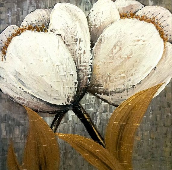 Original Textured Flower Abstract Contemporary by YueJinArt