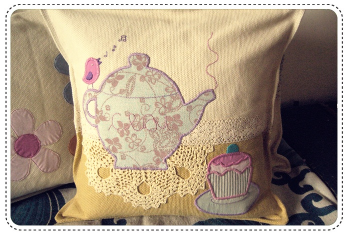 Tea party cushion (detail)  Handmade embroidery and lace